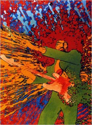 Jimi Hendrix door Martin Sharp, copyright Martin Sharp
