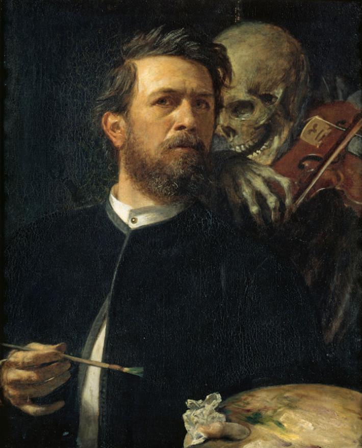 Arnold BÖCKLIN, Arnold, Selbstporträt mit fiedelndem Tod, 1872
