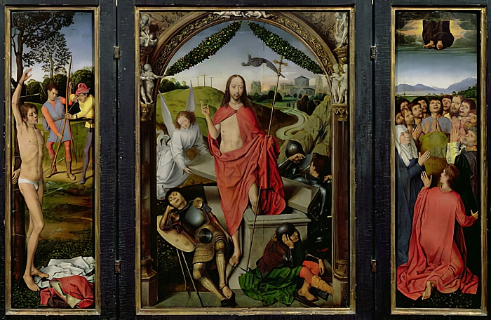 Hans Memling - Triptych of the Resurrection The Resurrection (centre) The Martyrdom of St Sebastian (left) and The Ascension (right) c1485-90 - (MeisterDrucke-71913) - Memling